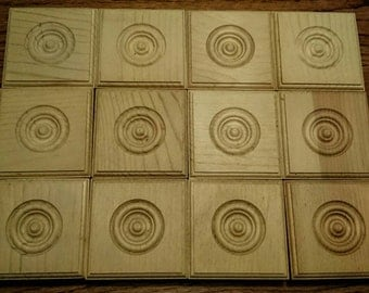 """Pine Wooden Blocks Handcrafted in USA-- Lot of Twelve--3"""" Square Pine Rosettes, 15/16"""" deep Crafts Bases or for Home Remodeling"""