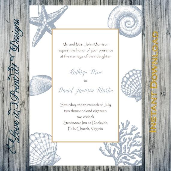 Wedding Invitation Diy Template Nautical Border In Slate