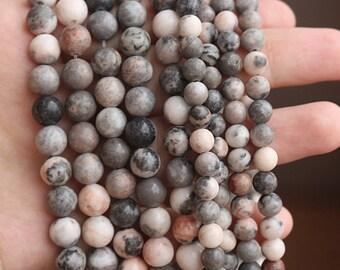 6-12mm Pink Zebra Jasper Gemstone Round Beads, 15'' one strand ( 6 mm 8mm 10mm 12mm )