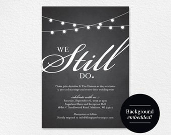 We Still Do Vow Renewal Invitation, Vow Renewal Invite, Wedding Vow Renewal, Vow Renewal Printable, PDF Instant Download #BPB188_68