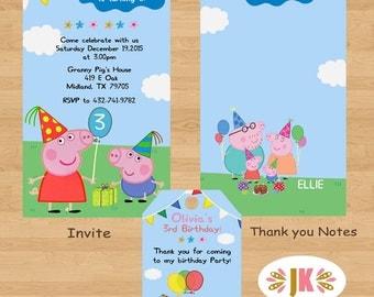 Peppa Pig  Printed Invitations