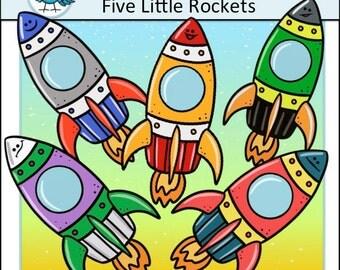 5 Little Rockets Clip Art Set - Chirp Graphics