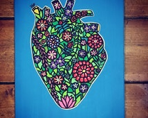 Original Painting -Anatomical Heart - Spring Heart Love on Canvas