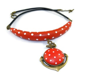 Red collar with white polka dots, retro style, Navy ink in polymer clay
