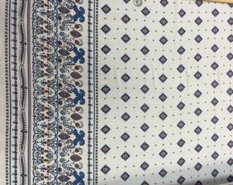 100% Rayon challis One border Blue Off white 53-54 in w Fabric by the yard