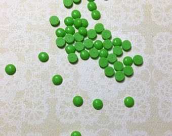 Green Enamel Dots - pack of 50 - embellishment, scrapbooking, card making