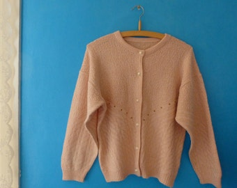 Jacket - vintage - pale pink - knitting retro - jacket sweater