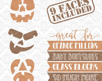 Pumpkin Faces Cutout Designs Skeleton Vampire Halloween Heads SVG DXF Ai Eps PNG Vector Instant Download Commercial Use Cricut Silhouette