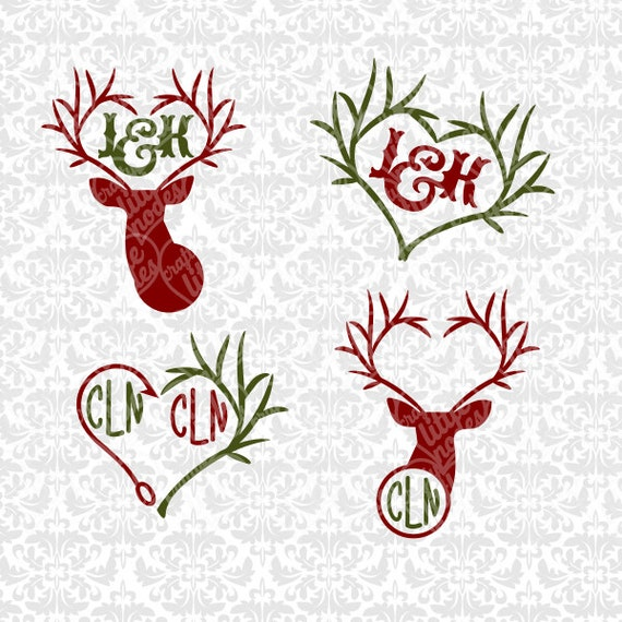 Deer Heart Antler Valentines Couples Southern Hunting Set SVG STUDIO Ai EPS INstant Download Commercial Use Cutting FIle  Cricut SIlhouette