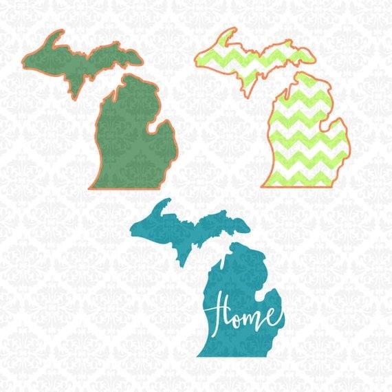 Michigan Outline Chevron Monogram Home Love Hearts SVG STUDIO Ai EPS Scalable Vector Instant Download Commercial Use Cricut Silhouette