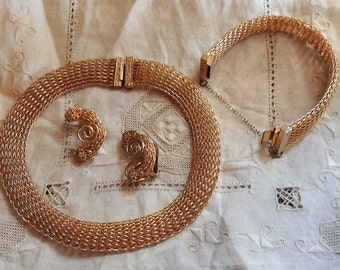 Vintage Marked Hobe Jewelry Set Hobe Necklace Bracelet Earring Hobe Mesh Jewelry Set