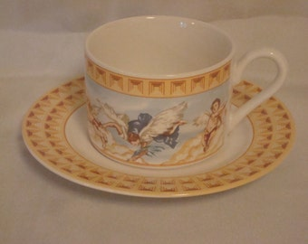 "Fitz and Floyd HABITAT AMERICANA  ""CHERUBS""  - Set of 8 Cups & 6 Saucers"