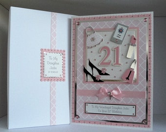 Large  Birthday Card 18th/21st/30th/40th etc Daughter/Wife/Sister/Niece/Friend Customised Handmade Personalised  Girlie Theme
