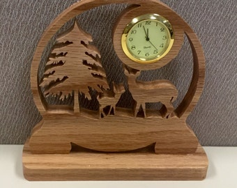 Handcrafted Deer Clock
