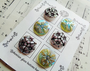 Modern Czech art glass buttons on the card, luster mix, hand painted detail 1 1/16 inch FREE SHIPPING