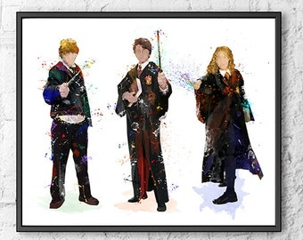 Harry Potter Hermione Ron Watercolor Print, Hogwarts Poster, Magic Wand, Wizzard, Movie Poster, Kids Room Decor, Wall Art, Home Decor - 573