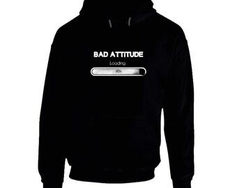 Bad Attitude Loading - Black Hoodie - funny, humor,