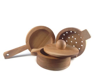 Wood Pot, Pan and Colander Set - Kitchen Toys - Cookware - Birthday Gift - Play Kitchen - Wooden Toys - Waldorf Kitchen - Toys for Kids