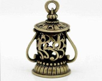 10 Bronze Tone Flower Lantern Charms Pendants 29x20mm