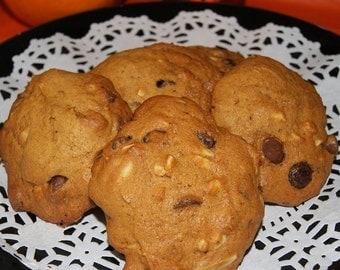 Pumpkin Chocolate Chip Cookies - Custom cookies, one dozen, made to order, homemade, fall dessert, edible gift, autumn cookies, teacher gift