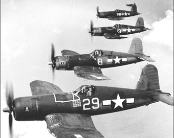 24x36 Poster . Navy Vought F4U-1A Corsairs (Vf-17) Jolly Rogers 1944