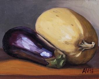Squash and Eggplant Oil Painting Still Life by Aleksey Vaynshteyn