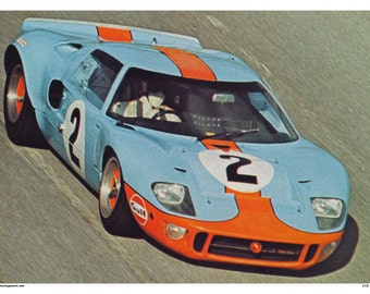 Vintage Reproduction Racing Poster Gulf Ford GT40 LeMans Racing Print