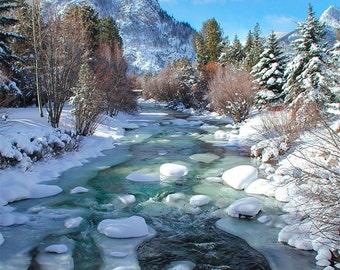 Colorado Mountains, Winter Wonderland, Mountain stream photography, frozen green river, wall art, natural beauty, Colorado stream, Ice Creek