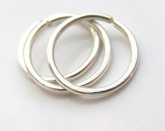3 Small Silver Hoop Earrings Free Shipping, for Ear Lobe or Helix Cartilage Piercing