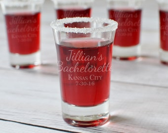1 Bachelorette Party Engraved Shot Glass - One Shot Glass Bridesmaid Bride Gifts Personalized