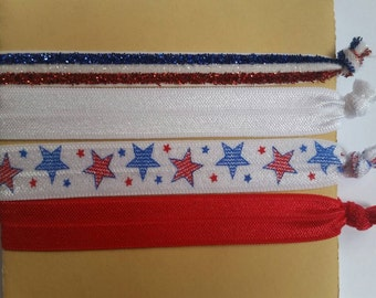 Elastic hair ties, american flag hair ties, memorial day, 4th of July, stars and stripes hair ties, red white and blue hair ties