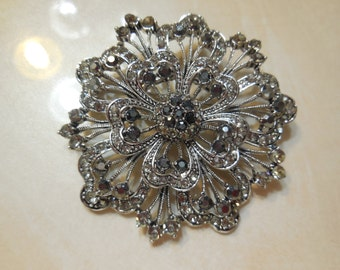 Charcoal and Black Rhinestoned Brooch