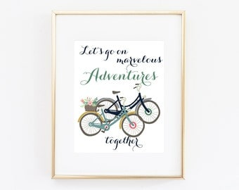 Let's Go On Marvelous Adventures Together Print Quote Art Print Printable Bike Art Quotes - Instant Digital Print Motivation Quote Newly Wed