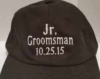 Personalized Youth Baseball Cap Hat, Wedding Party Groomsman Gift Hat Cap, Custom Boy or Girl Baseball Cap Hat, Monogrammed Baseball Cap Hat