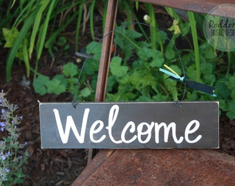 Welcome Sign - Hanging Welcome Sign - Black Welcome Sign - Front Door Sign - Outdoor Sign - Wood Signs