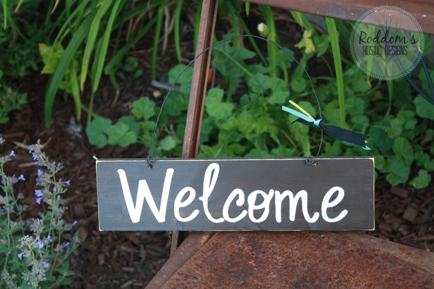 Hanging welcome sign front door sign home decor outdoor for Outdoor decorative signs