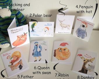 Hand drawn print set of 8 Christmas cards