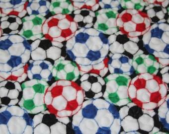 Minky quilt, throw quilt, kids quilt, lap throw, soccer, preshrunk 68 x 51
