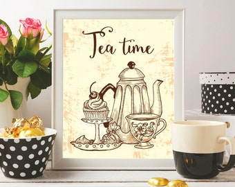 Tea time printable Tea print Tea time poster Teapot print Tea time sign Tea art printable Tea pot print Kitchen wall art print Kitchen decor