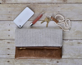 Cream and gold wool clutch with brown leather, cream clutch, wool clutch, fold over clutch, leather clutch, leather purse