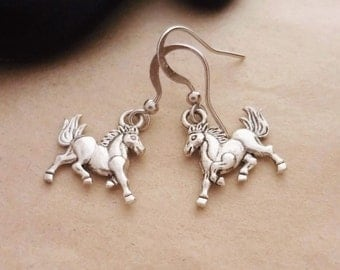 Horse Earrings, Prancing Horse, Pony, Equestrian, Foal, Mustang, Horse Jewelry