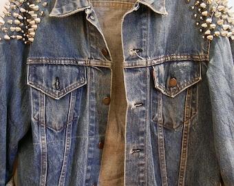 Spike studded denim jacket