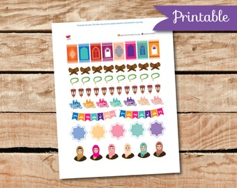 Ramadan Printable Planner Stickers, Ramadan Icon Stickers, Muslim Stickers, Perfect for Erin Condren Planner and other planners