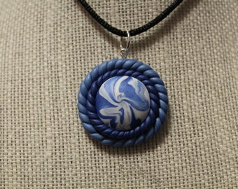Blue and White Spiral Polymer Clay Necklace Pendant