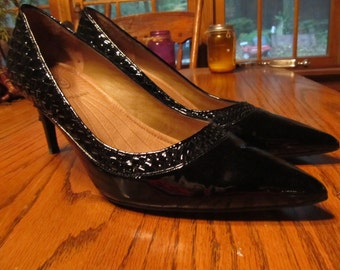Joan and David Black Patent Leather Shoes