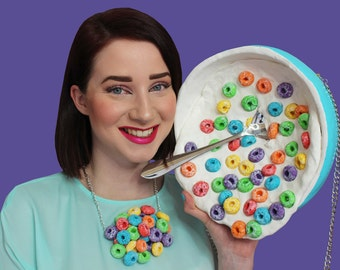 Froot Loops Accessories Breakfast Food Jewely Necklace Purse Clutch Bag Milk Color Fun Cute Unique Design Designer Rommydebommy Sweet kawaii