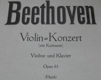 German old music sheet Konzert Violine und Klavier by Ludwig van Beethoven.