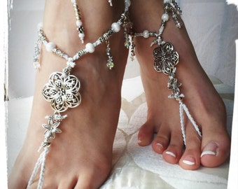 Barefoot sandals, accessories, bride in white wedding on the beach barefoot, WHITE summer, beach party, toering