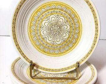 """Franciscan Earthenware Hacienda Gold 6.5"""" Appetizer Dessert Plates, Set of 4"""