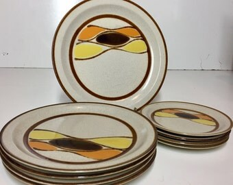 Vintage Mid Century Modern Zuma Serving Platter, Dinner Plates and Salad Plates by Kaleido International China Service for 4